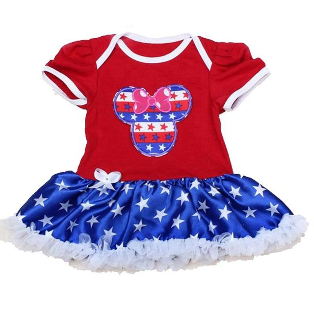 Lindo Minnie de la bandera americana de julio trajes Lace del mameluco del bebé recién nacido los bebés de los mamelucos 2016 muchachas del niño ropa de niños ropa