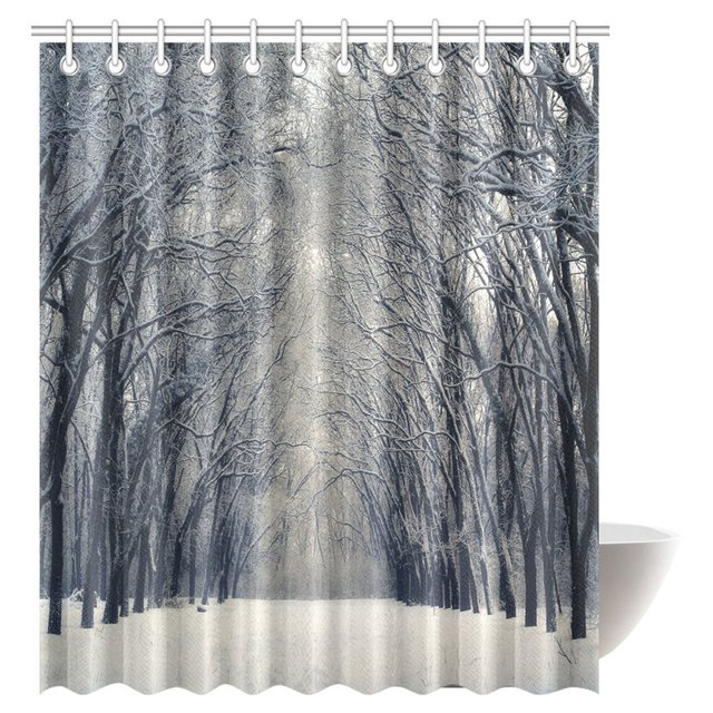 Aplysia Farm House Decor Shower Curtain Set Beautiful Winter Alley