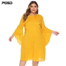 PGSD Summer casual big size trumpet sleeve auricular edge loose solid color Mid-length dress female yellow women clothes 4XL