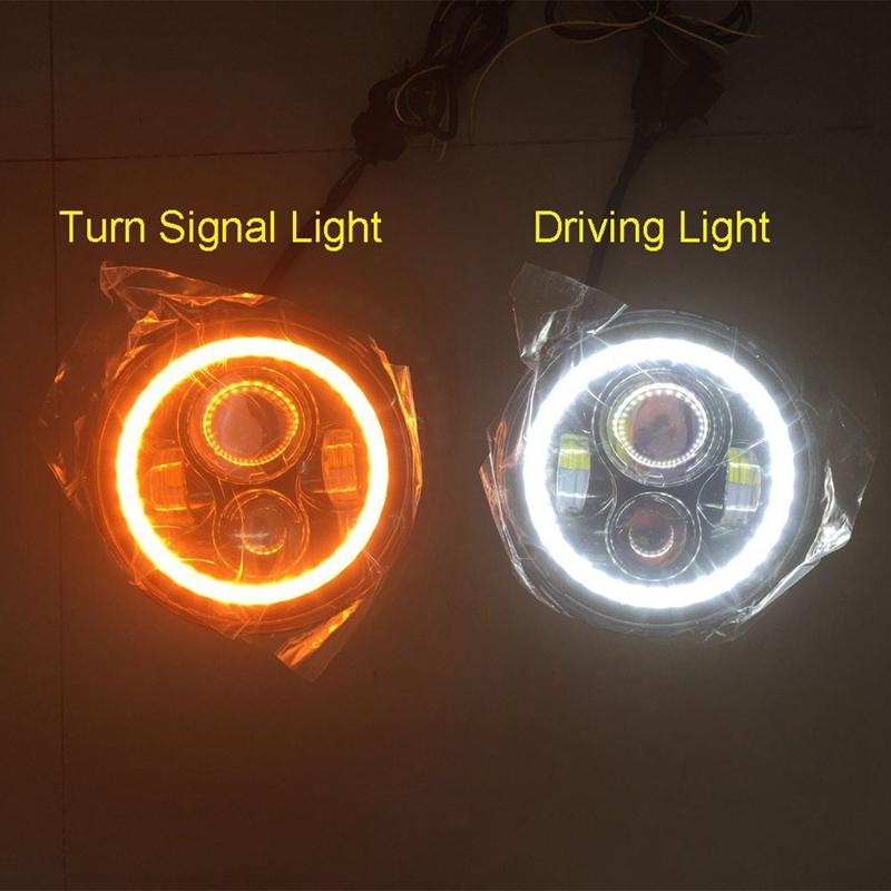 7Inch Round Led Headlight with DRL Turn Signal Light Hi/lo Beam for Jeep Wrangler Jk Tj Harley Motorcycle with H4-H13 Adpter 2pcs new design 7inch 78w hi lo beam headlamp 7 led headlight for wrangler round 78w led headlights with drl