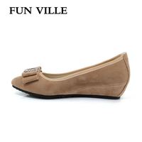 FUN VILLE 2018 Spring Women Flats Shoes Suede Height Increase Women Casual Shoes Round Toe Mother