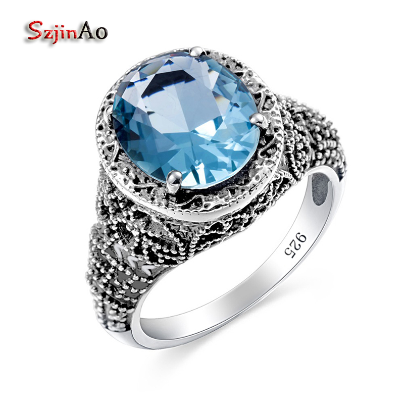 Szjinao Noble Skull Rings For Women Blue Aquamarine Round Gem Bohemia Devil Ring Vintage Master 925 Sterling Silver Jewelry