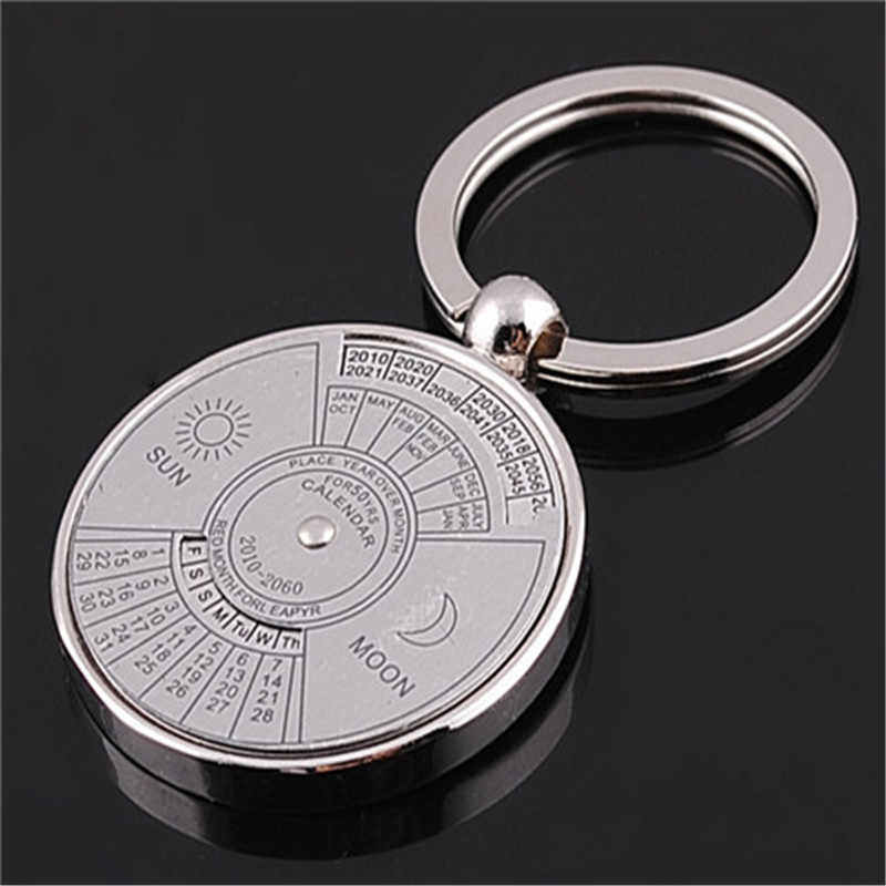 Simples Calendário Perpétuo Keychain Unisex Acessórios Do Carro Ornamentos Pingente de Chave Anel Chave De Metal Personalizado