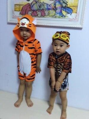 2 pz tiger stampa one piece swimwear dei bambini delle neonate ragazzi costumi da bagno costume