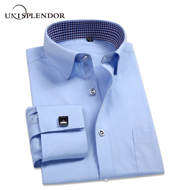 2020 Men Wedding Business Party Shirts Cotton French Cufflink Man Shirt Spring Autumn Long Sleeve Brand Male Dress Shirt YN10402