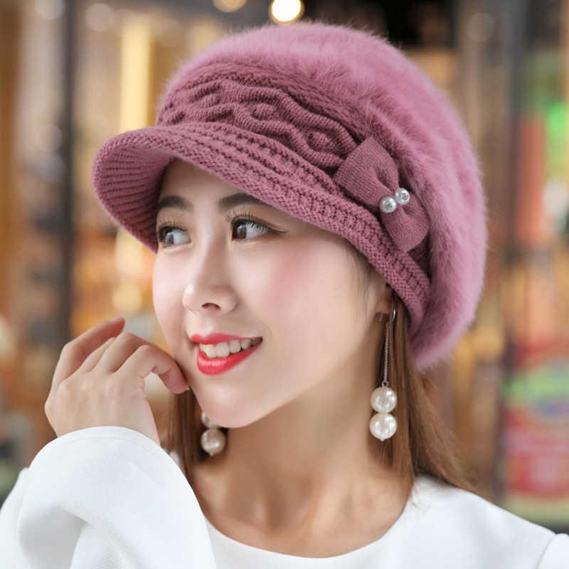 77b4a8e1 HT1916 New Rabbit Fur Hats for Women Berets Solid Autumn Winter Women Hats  Thick Warm Female
