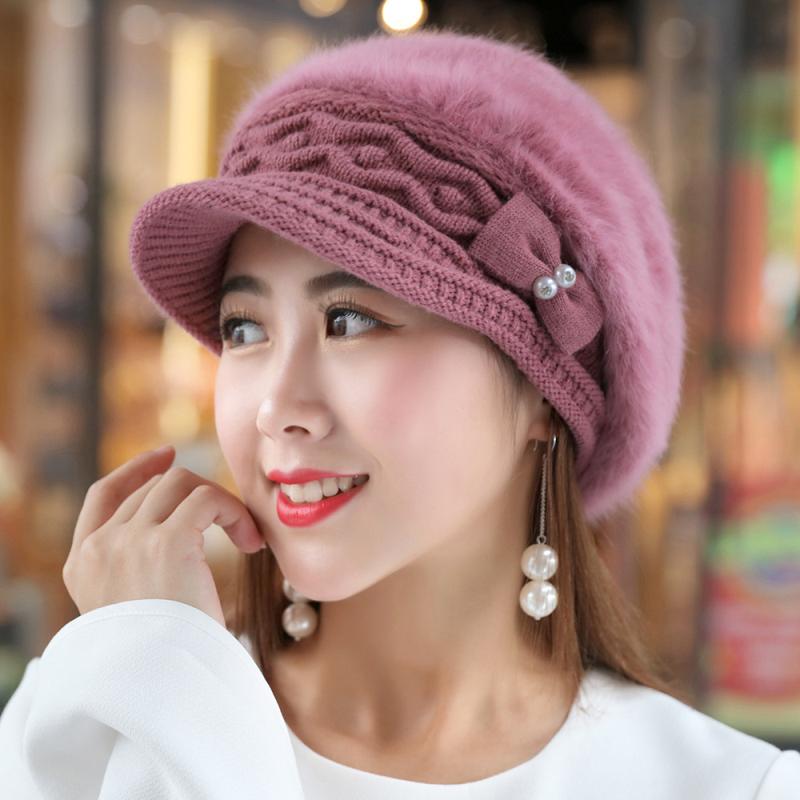 HT1916 New Rabbit Fur Hats For Women Berets Solid Autumn Winter Women Hats Thick Warm Female Flat Newsboy Cap Ladies Beret Hat