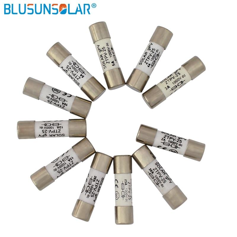 100 pcs lot 1000V DC Safety Fuse 2/3/4/5/8/10/12/15/20A Fusible 10x38MM gPV Solar PV Fuse BX0234
