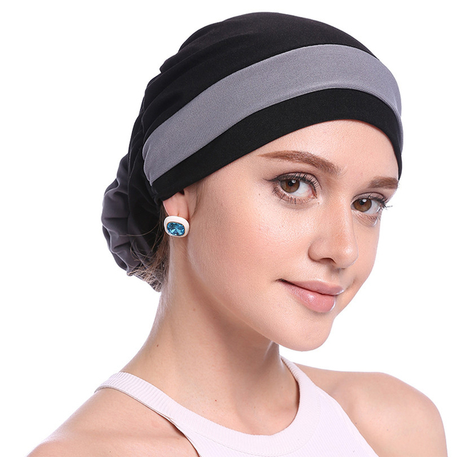 Haimeikang Autumn Winter Women Folded Turban Chemo Cap Hair Bands for Women Muslim Flower Headwrap Headbands Hair Accessories