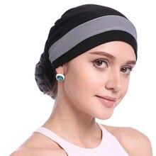Haimeikang Herfst Winter Vrouwen Gevouwen Tulband Chemo Cap Haarbanden voor Vrouwen Moslim Bloem Headwrap Hoofdbanden Haar Accessoires