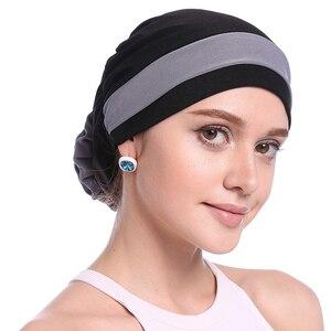 Image 1 - Haimeikang Herfst Winter Vrouwen Gevouwen Tulband Chemo Cap Haarbanden voor Vrouwen Moslim Bloem Headwrap Hoofdbanden Haar Accessoires