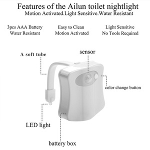 Image 5 - Smart toilet night light led WC closestool Body Motion Activated Seat PIR Sensor auto Lamp Activated pedestal Toilet 8color
