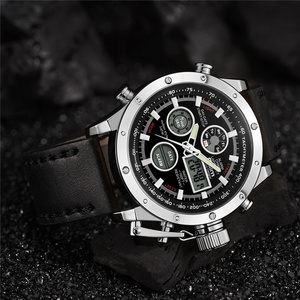 Image 5 - Oulm 新デュアルディスプレイスポーツは、男性の高級ブランドの本物のレザーストラップ腕時計 LED カレンダー多機能クォーツ時計