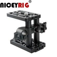 NICEYRIG Riser Quick Release Plaat met 15mm Rod Clamp Korte Hengel DSLR Camera Gemakkelijk Base Plaat Camera Kaas Statief 1/4 3/8 Schroef