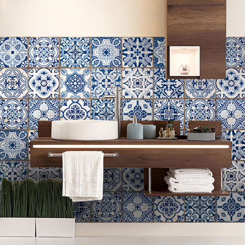 Toilet Kitchen Decoration Simulation Blue And White Ceramic Diy Sticker Modern Home Decor Accessories Wall Art Mural Wallpaper In Stickers From