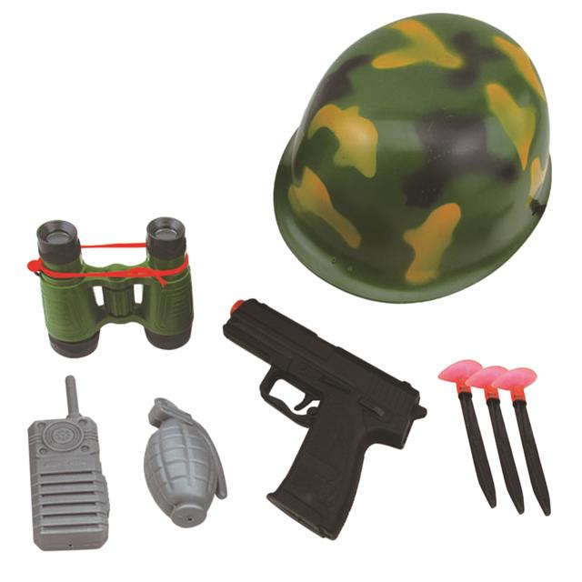 Military Hat Walkie Talkie Telescope Hand Gun Bullets Set