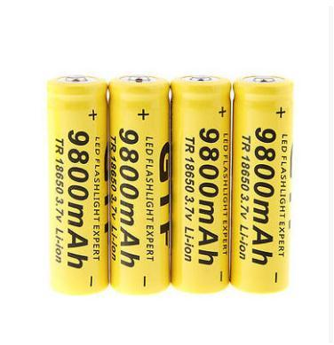 New 3.7V 18650 9800mAh Capacity Li-ion Rechargeable Battery For Flashlight Torch Yellow Shell Battery For Torch Low Reoccurring