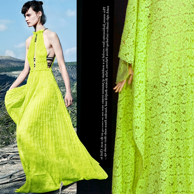 micro fluorescence import yellow green hollow out pattern pleated skirt dress lace fabric drape fashion fabrics in Fabric from Home Garden
