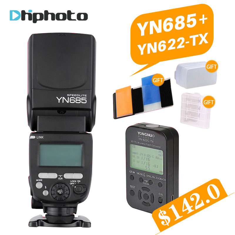 YONGNUO YN685 YN-685N Wireless HSS TTL Flash Speedlite for Canon Nikon with Flash Trigger YN622C-TX/YN622N-TX Kit Set free gifts yongnuo yn600ex rt ii 2 4g wireless hss 1 8000s master ttl flash speedlite or yn e3 rt controller for canon 5d3 5d2 7d 6d 70d