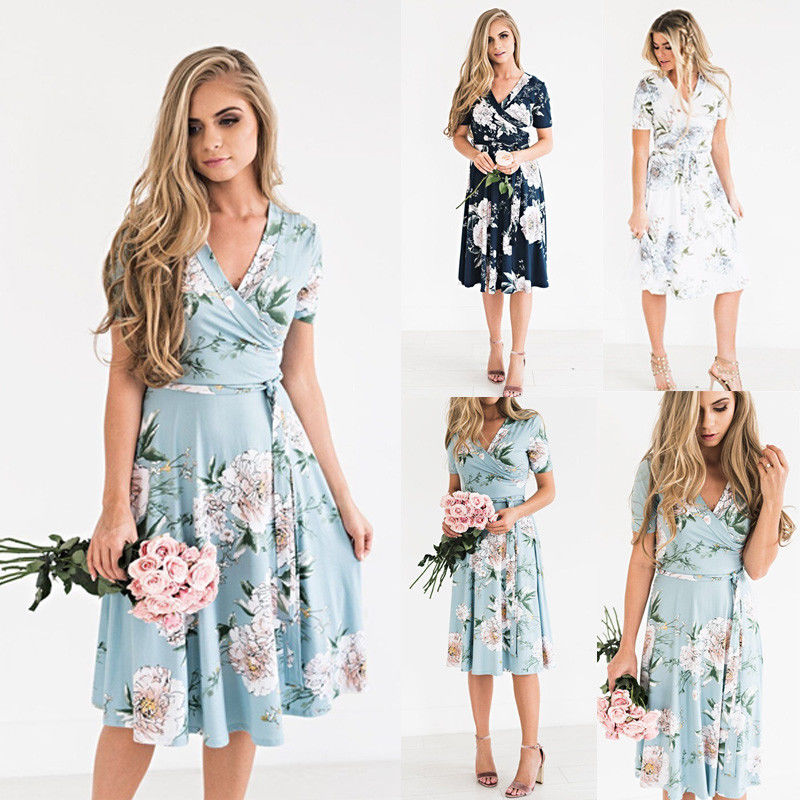 Women Boho Floral Print Short Sleeve Dress Summer Sexy Deep V Elegant Ladies Sundress Holiday
