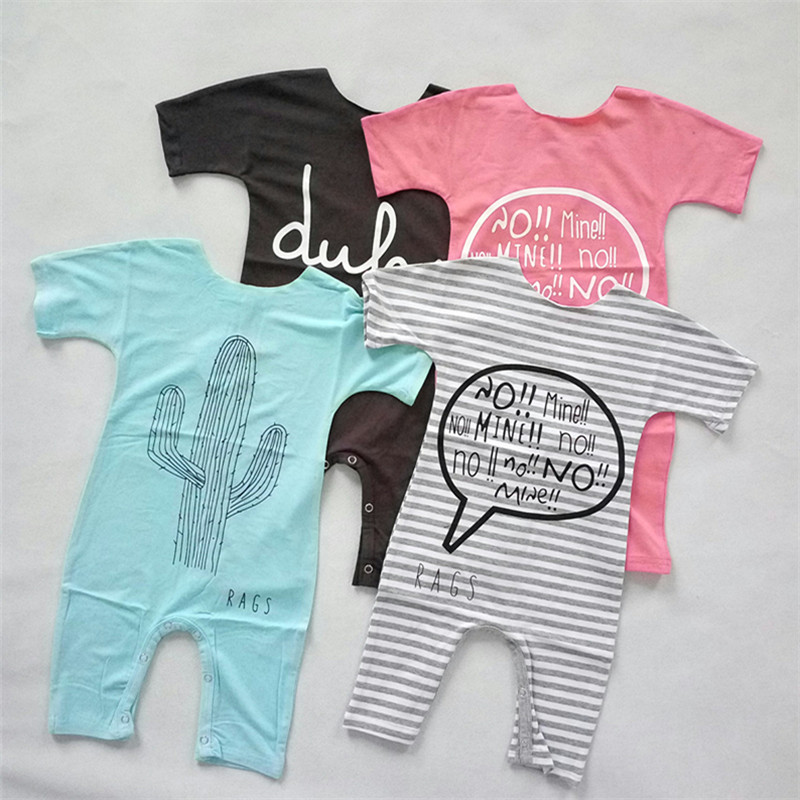 857f37ad0ce7 Baby Summer Romper Short Sleeve Cactus Stripe Letter dul Romper for Boys  Girls vestidos cartoon Toddler Infantil Clothes-in Bodysuits from Mother    Kids on ...