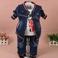 Новые 2017 весна мальчики окрашены джинсовые комплект одежды куртка + футболка + джинсы 3 шт. мальчик одежды наборы дети осень повседневная одежда костюм