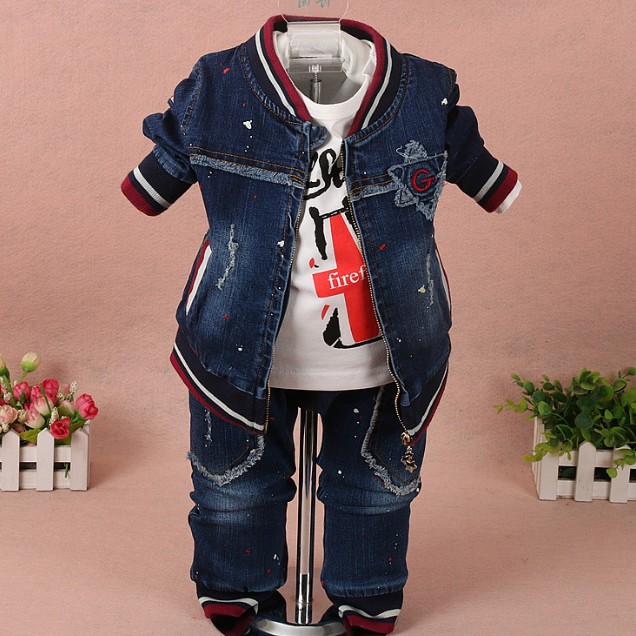 new 2017 spring boys painted denim clothing set jacket+t shirt+jeans 3pcs baby boy clothes sets kids autumn casual apparel suit