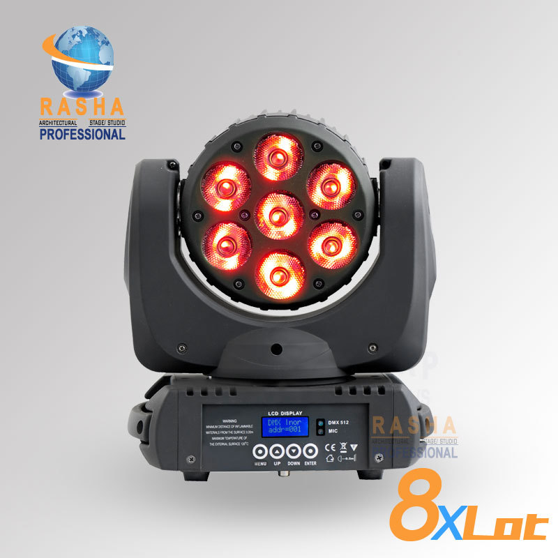 8pcs/LOT Rasha High Brightnesss 7pcs*12W 4in1 RGBW LED Moving Head Beam With LCD Display,RASHA LED Beam Light