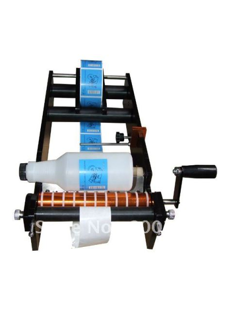 (Free Shipping) Simple Manual Handy Round Bottle Labeling Machine (manual round bottle labeler, label applicator)