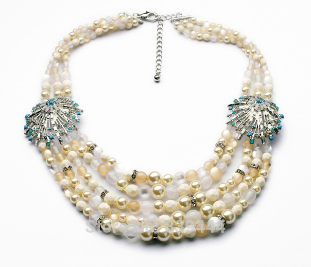 Western Fashion Jewelry free shipping New Design Glass Layered Simulated Pearl Necklace Jewelry