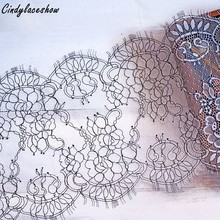 3 Meters long 24CM wide Black White Double Edging Eyelash Chantilly Lace Trimming Wedding Lace Trim French Lace Trim Fabrics DIY