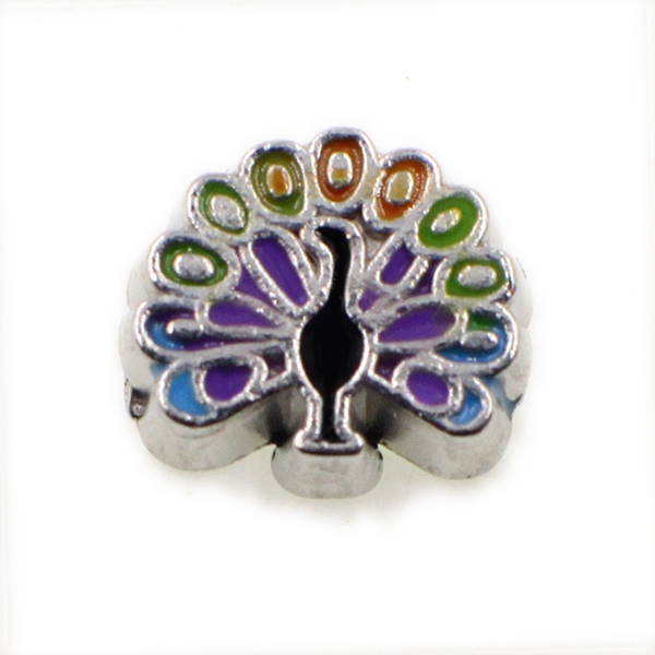 20PCS Cute Colorful Peacock Alloy Floating Charms Fit Glass Locket Charms DIY Jewelry Accessories