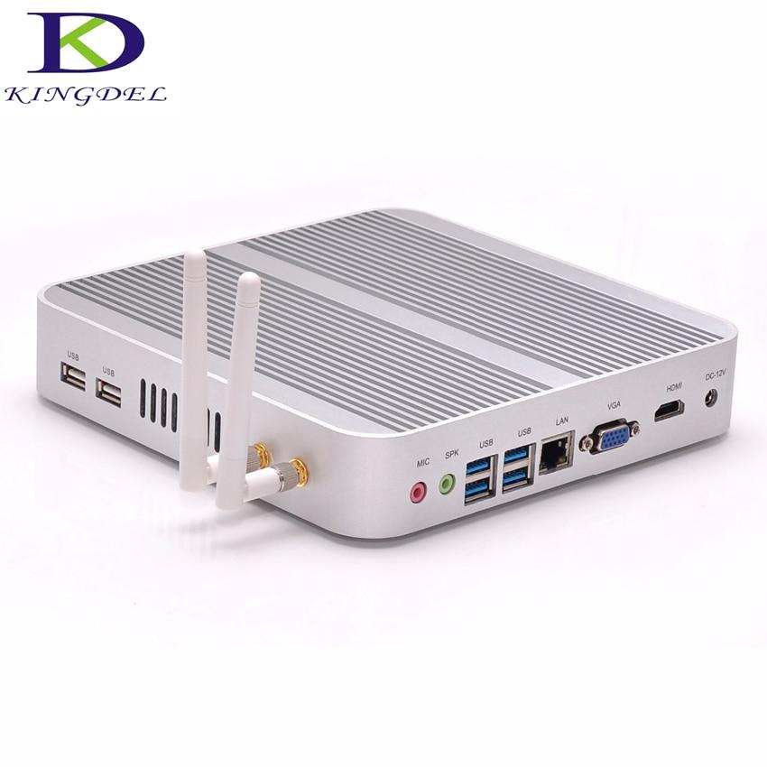 2016 Latest Fanless Intel I3-4010U Mini Desktop PC 8GB RAM 256G SSD Industrial Optional USB 3.0 WiFi HDMI Blu-ray