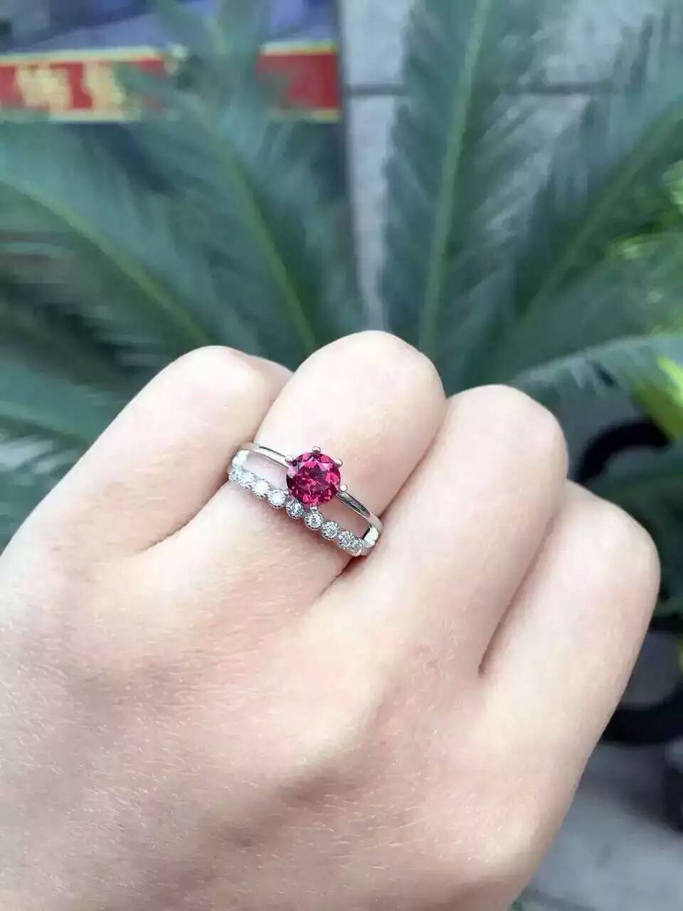 Natural Red Garnet Gem Ring Gemstone S925 Sterling Torch Tunik Women Burgundy Maroon Xl Silver Trendy Elegant Two Layers Round Wedding Jewelry