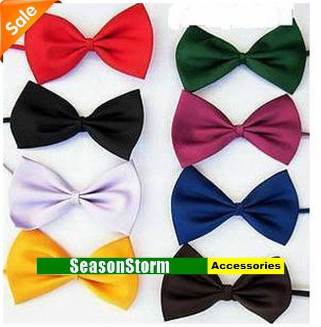 [FOB] Wholesale Unisex Polyester Silk Cheap Bow Tie / Fashion Solid Color Casual Bowtie 2000pcs/lot (SE-25F)