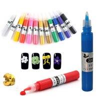 1 Set 3D Nail Art Paint Drawing Pen Polish Acrylic Nail Art Polish Carved Pen Kit