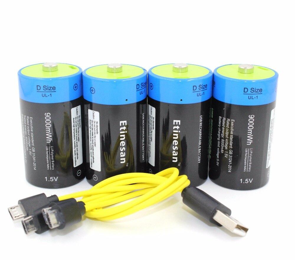 4pcs lot etinesan 1 5V 9000MWH li polymer rechargeable D size battery li ion powerful USB