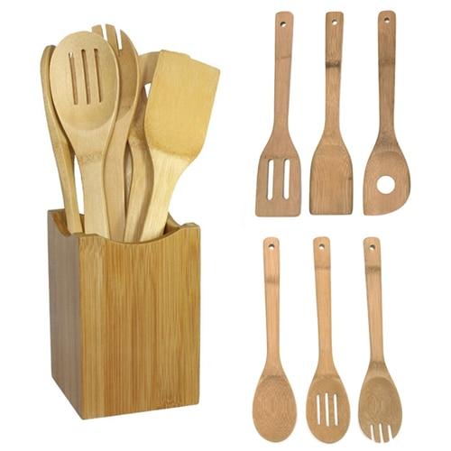 Kitchen tools 6pcs bamboo spoon spatula kitchen utensil for Kitchen tool set of 6pcs sj