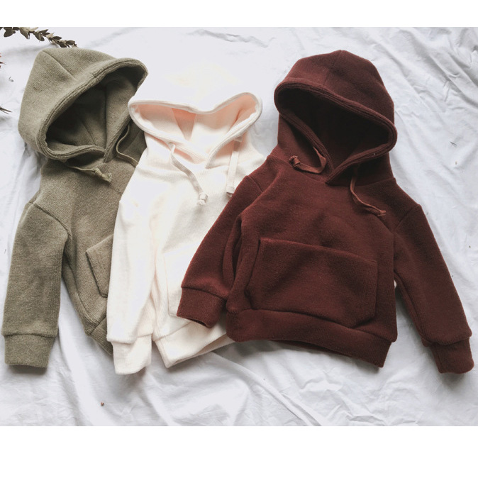 autumn winter boys girls hoodies kids thick hooded long sleeve casual hoodies baby brown beige light green all match clothes 1-6