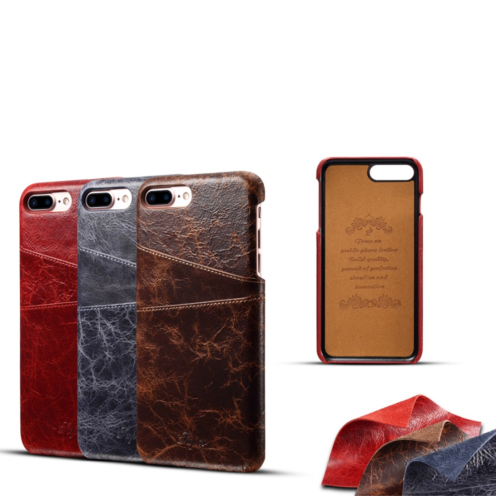 For iPhone 7 8 Plus Real Genuine Leather Case Luxury Phone Back Cover Coque