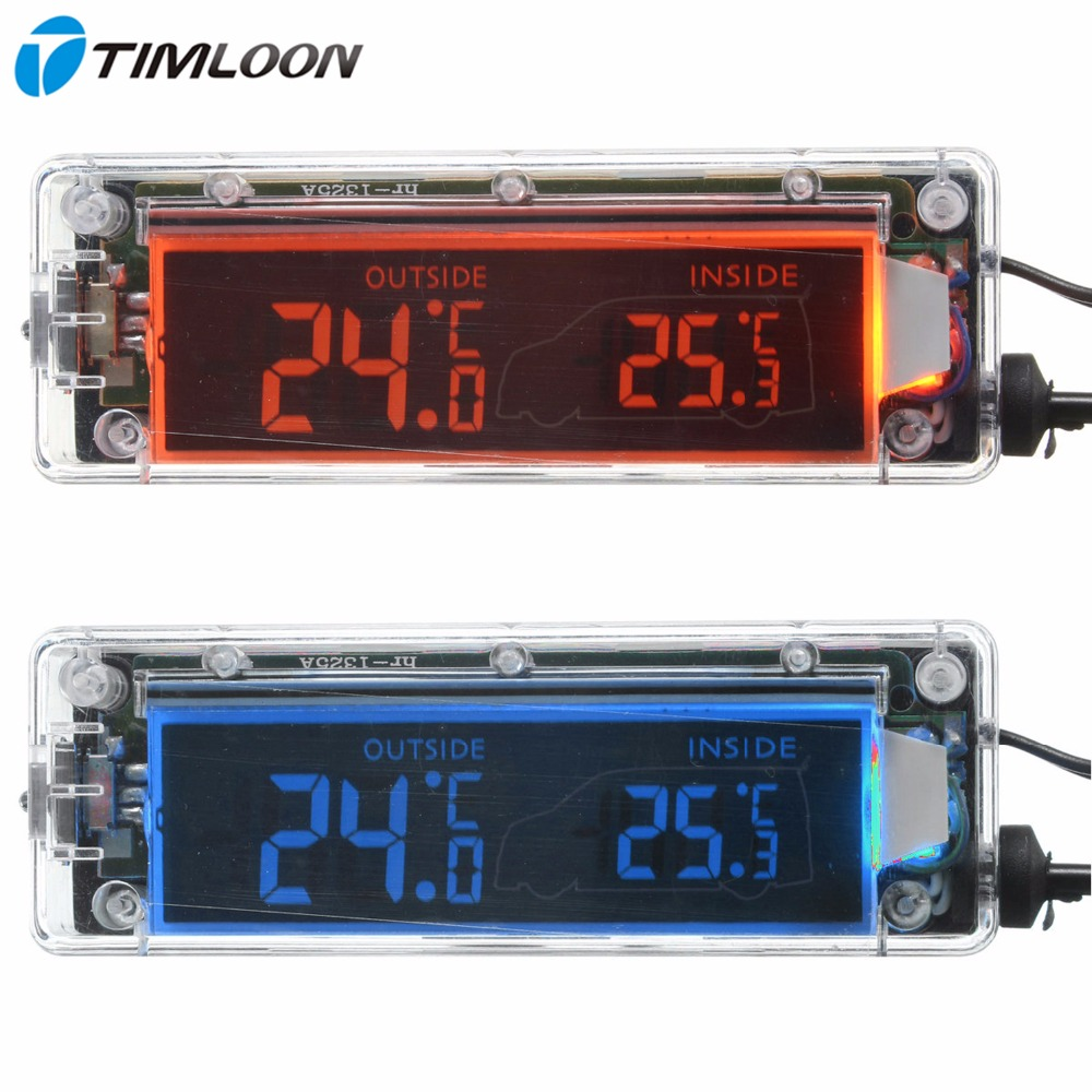 12V Transparent Shell Digital LCD Outdoor/Indoor Car Thermometer with Shiftable Red and Blue Backlight