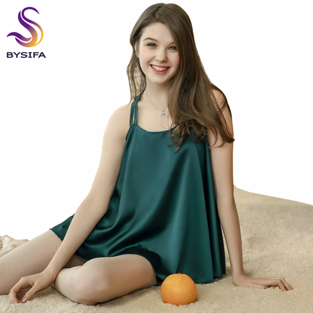 df2cbf570b9 Summer Women Silk Pajamas Set Sleepwear New Dark Green Sexy Loose Tops  Shorts Pajamas Women s Sleep Lounge Nightwear Nightgown
