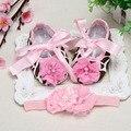 Милый ребенок обувь Старинные Горный Хрусталь lcae Детская обувь установить Заставку, шелковый Атлас детские тапочки, потертый Цветы обувь для девушки