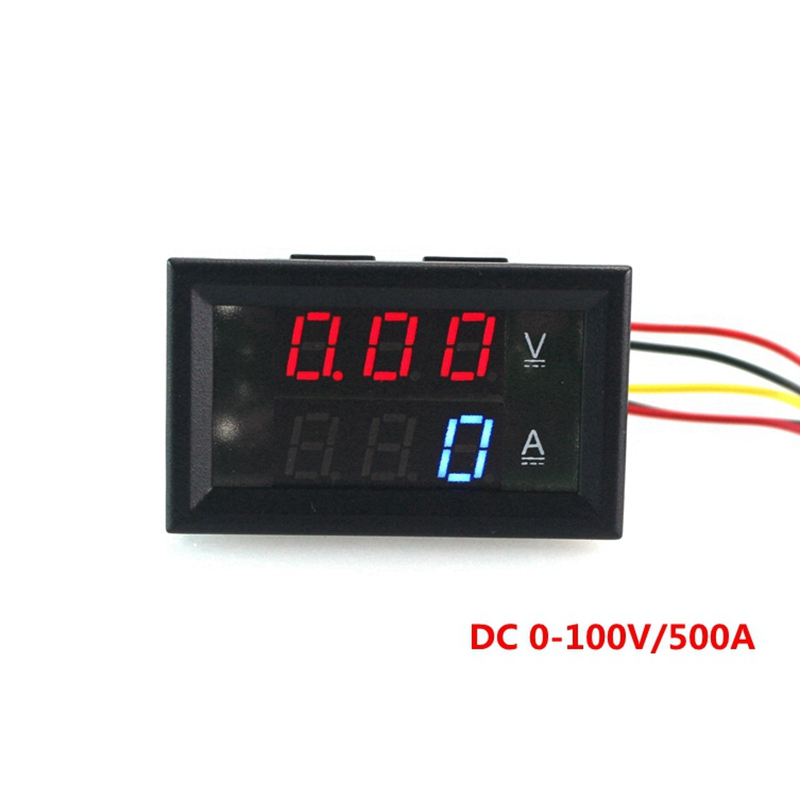 blue red led display dc 0 100v 500a dual volt amp meter. Black Bedroom Furniture Sets. Home Design Ideas