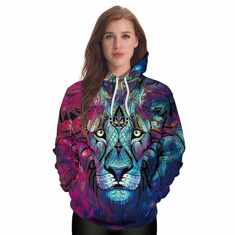 Новый стиль толстовки с капюшоном в Стиле Хип-Хоп кофты животных красочные Лев 3D классная, с принтом Толстовка Для женщин с капюшоном женщина Sudaderas mujer