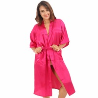 Hot Pink Plus Size XXXL Women S Kimono Bath Gown Hot Sale Bridesmaid Wedding Robe Dressing