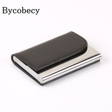 BYCOBECY Big Capacity Business Name Card Holder  ID Credit Card Wallet Bank Card Package Solid Steel Card Box