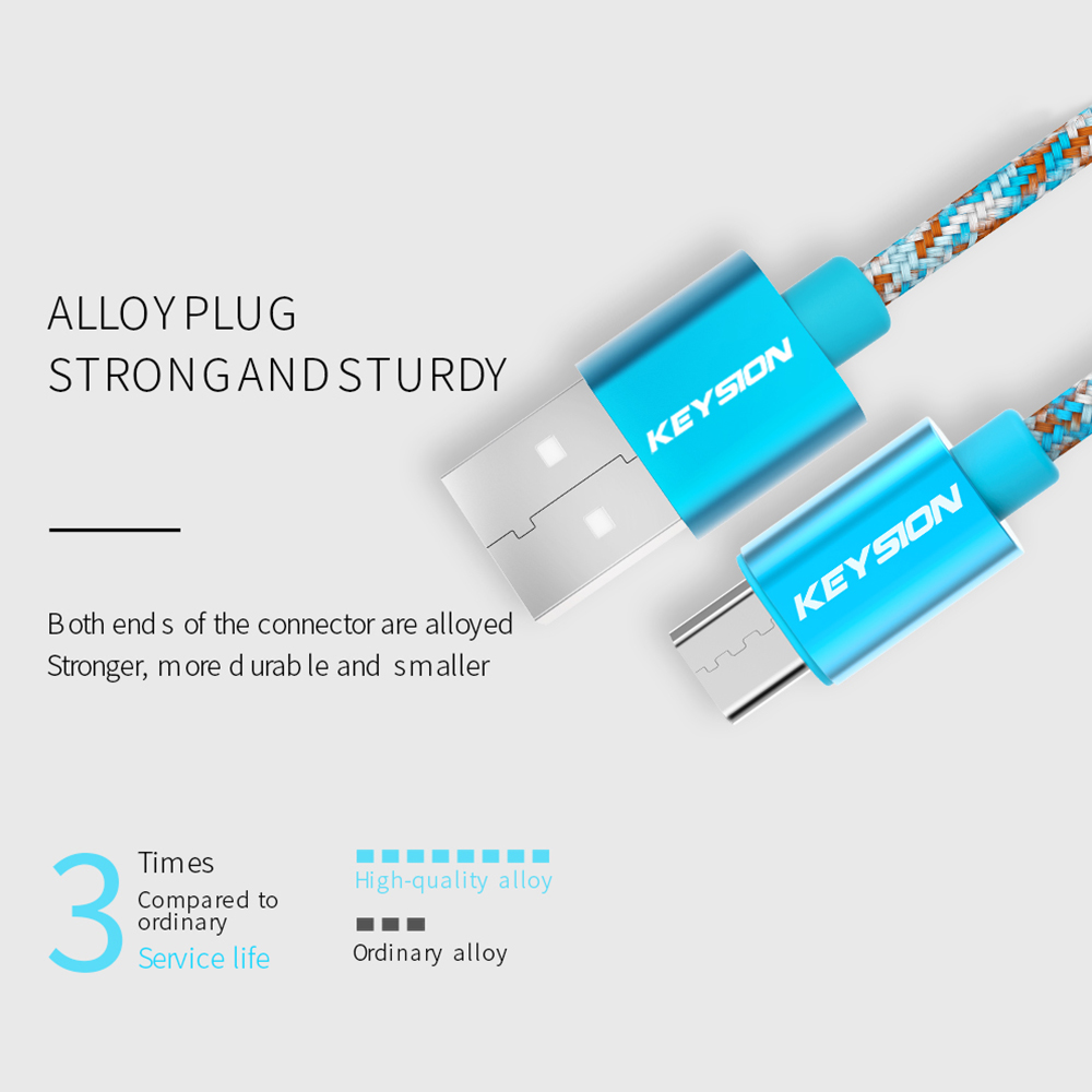 Image 2 - KEYSION Micro USB Cable 2.4A Nylon Fast Charge USB Data Cable for Samsung Xiaomi Tablet Android Mobile Phone USB Charging Cord-in Mobile Phone Cables from Cellphones & Telecommunications