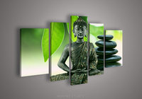 5 Piece High Quality Abstract Home Wall On Canvas Handmade Plum Flower Buddha Oil Painting For
