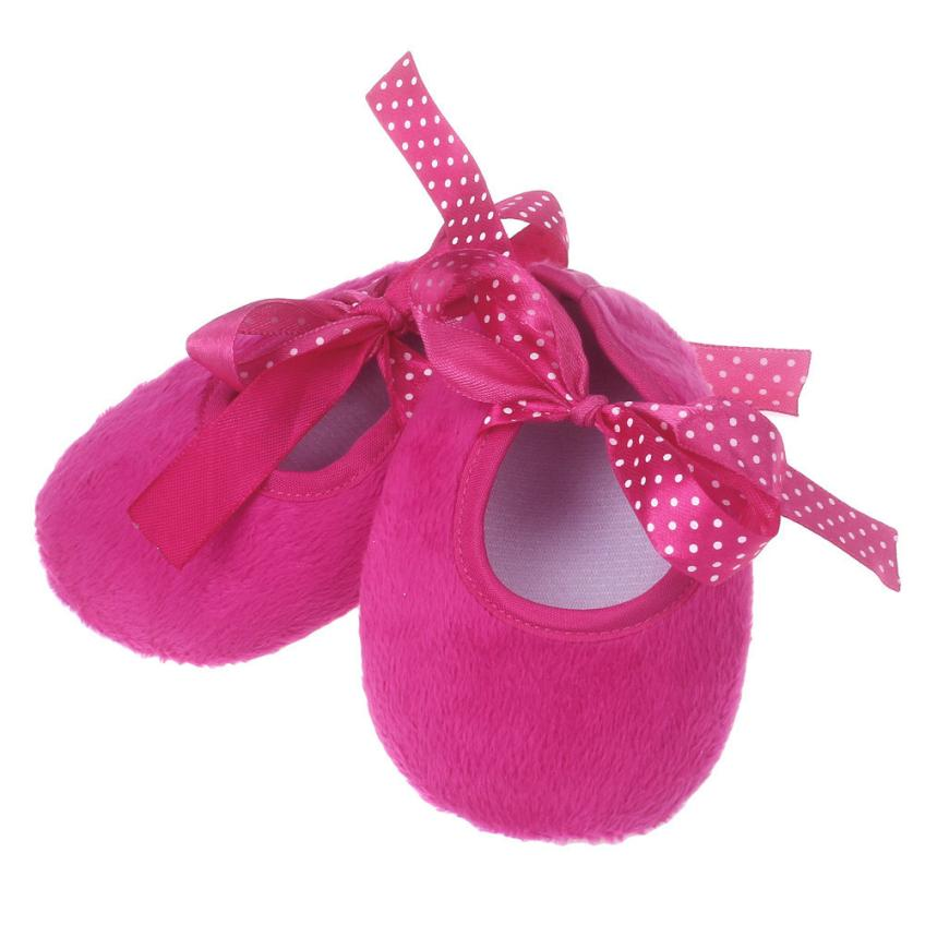 2017 Cotton fabric Hot pink Kids First Walkers Baby Bowknot Solid Newborn Cloth Shoes chaussure fille